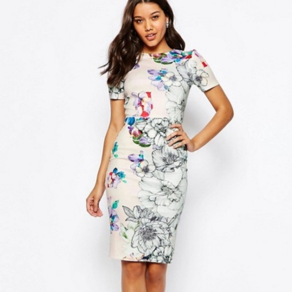 d4b3a28b ASOS Floral T-Shirt Scuba Bodycon Midi Dress